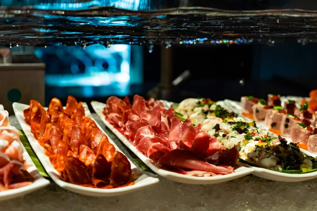 selection of cold cuts from riverside terrace at mandarin oriental, bangkok