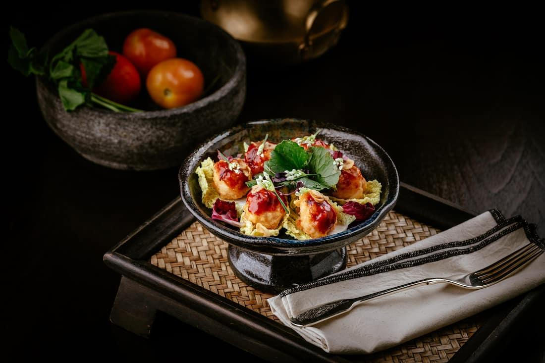 Shrimp balls in chili sauce