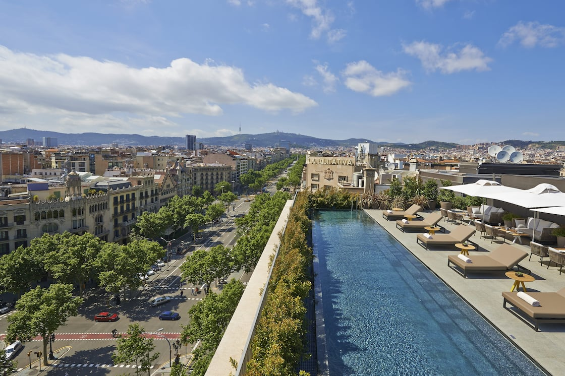 View of rooftop pool and Barcelona from Mandarin Oriental, Barcelona