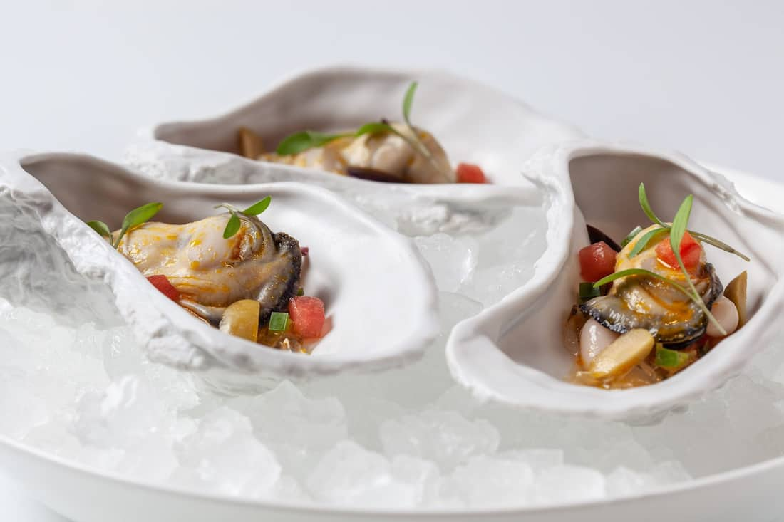 oysters served in spoons