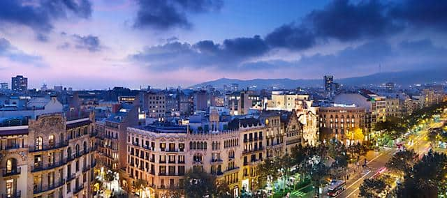 Barcelona skyline view from the rooftop