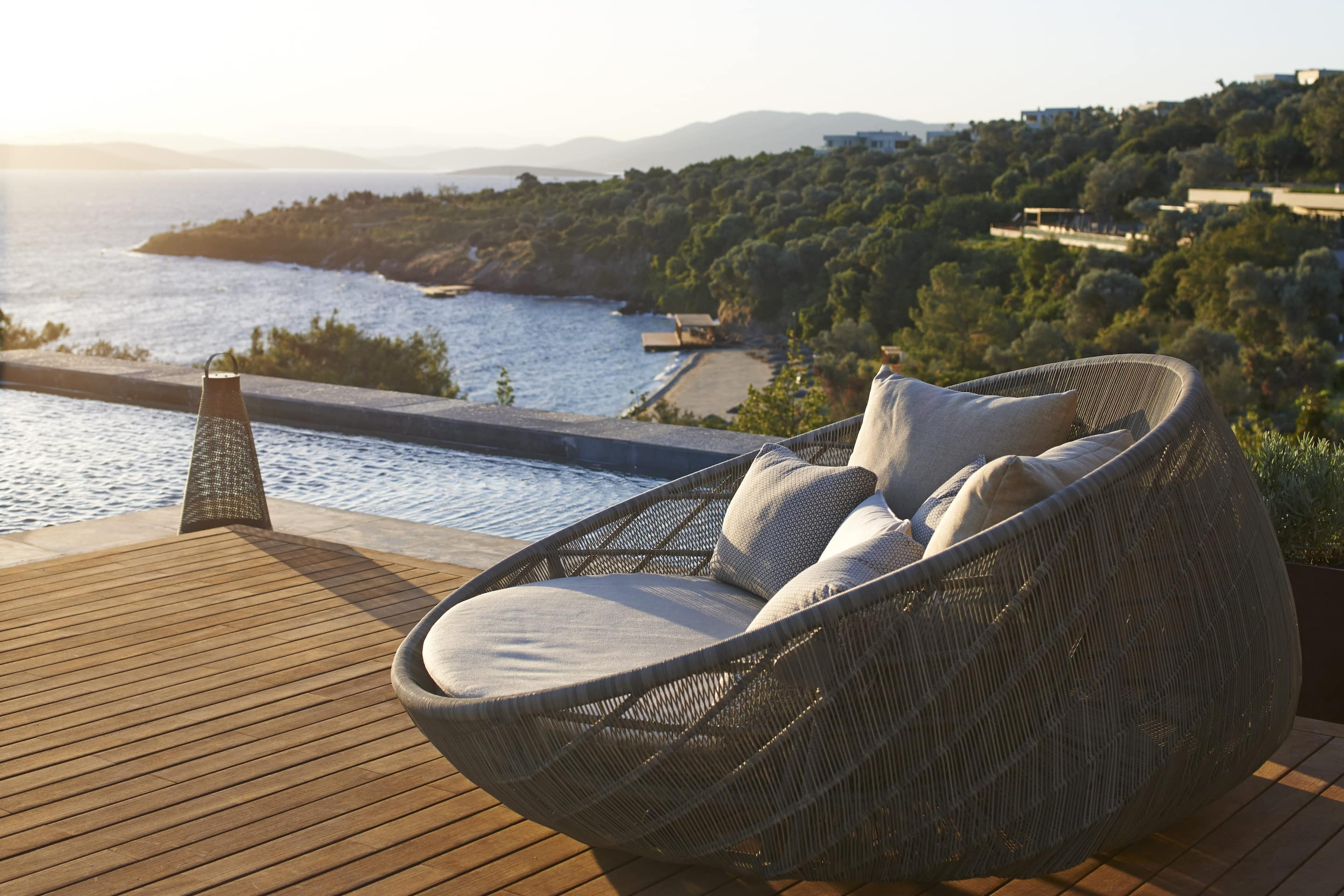 An outdoor chair on the terrace with a sea view at Mandarin Oriental, Bodrum
