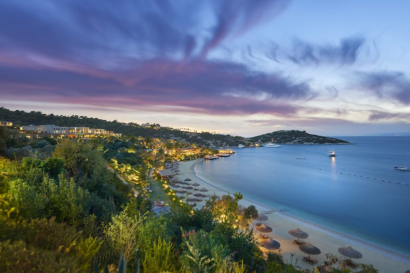 exterior view of mandarin oriental, bodrum, at dusk