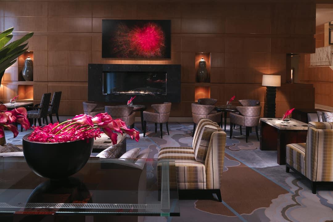 boston lobby fireplace view