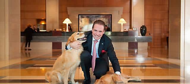 golden retriever at hotel lobby