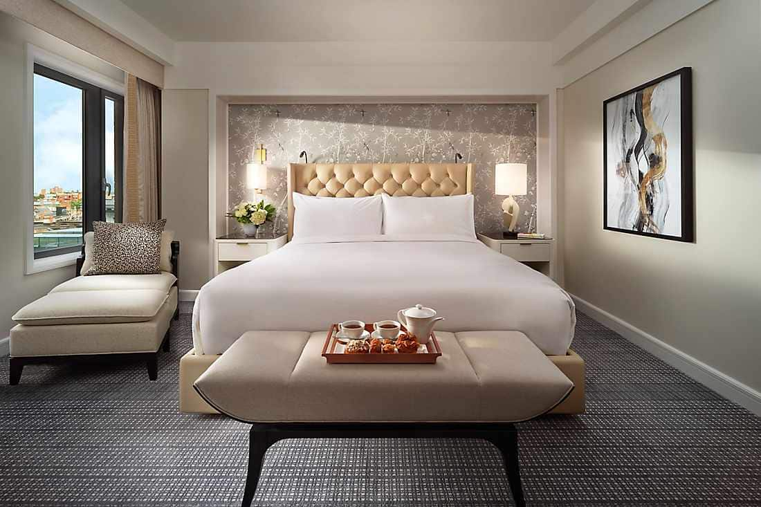 renovated corner suite bedroom interior