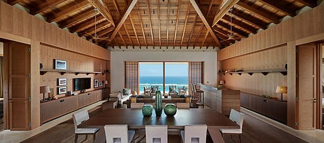 villa interior with dining room