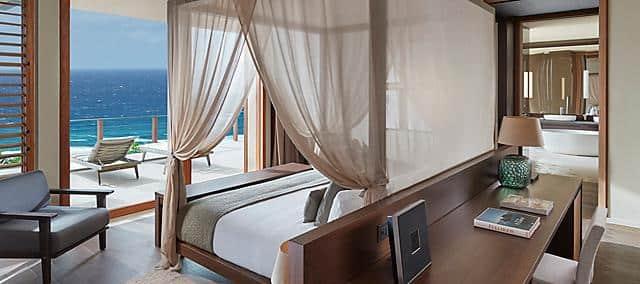 villa master bedroom with patio