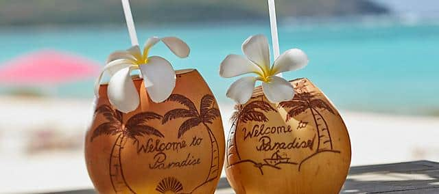 two coconut drinks