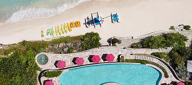 canouan pool and beach aerial view