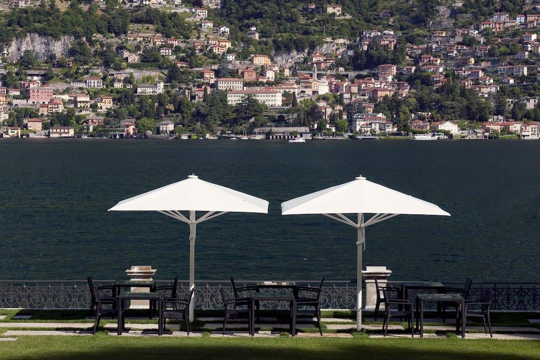 Umbrellas overlooking Lake Como