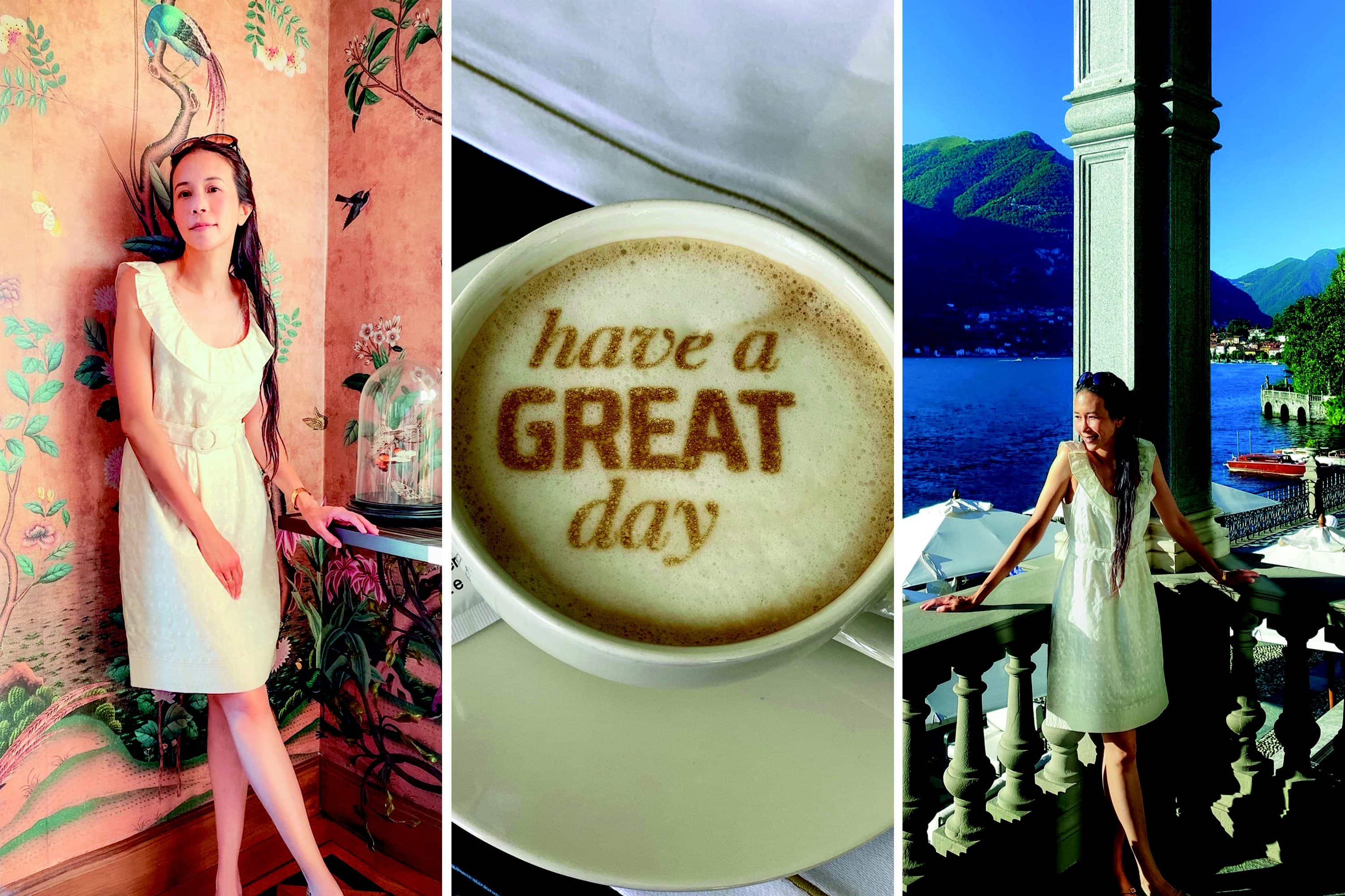 Triptych of images of Karen Mok and a morning coffee