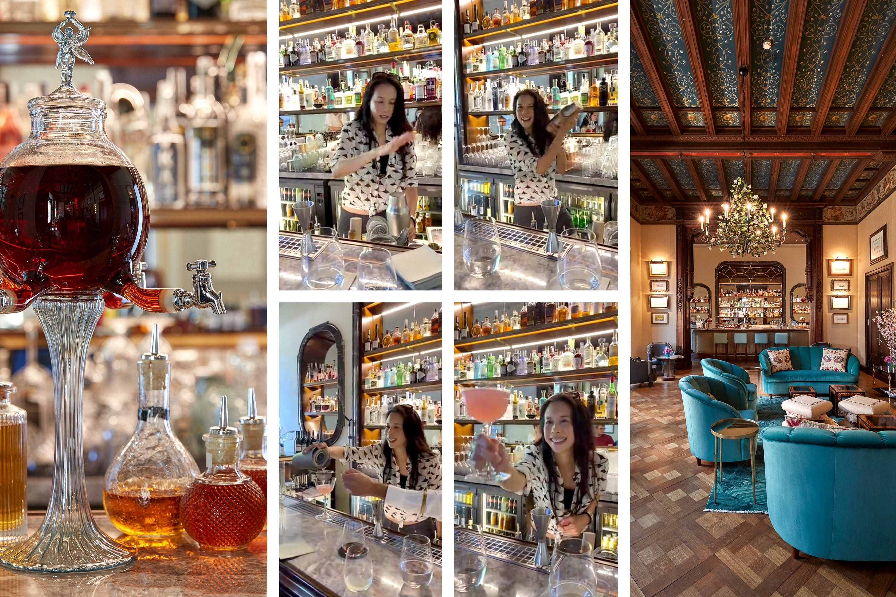 Triptych of images showing Karen Mok making cocktails at the bar