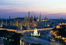 Bangkok's Imperial Palace lit up at night