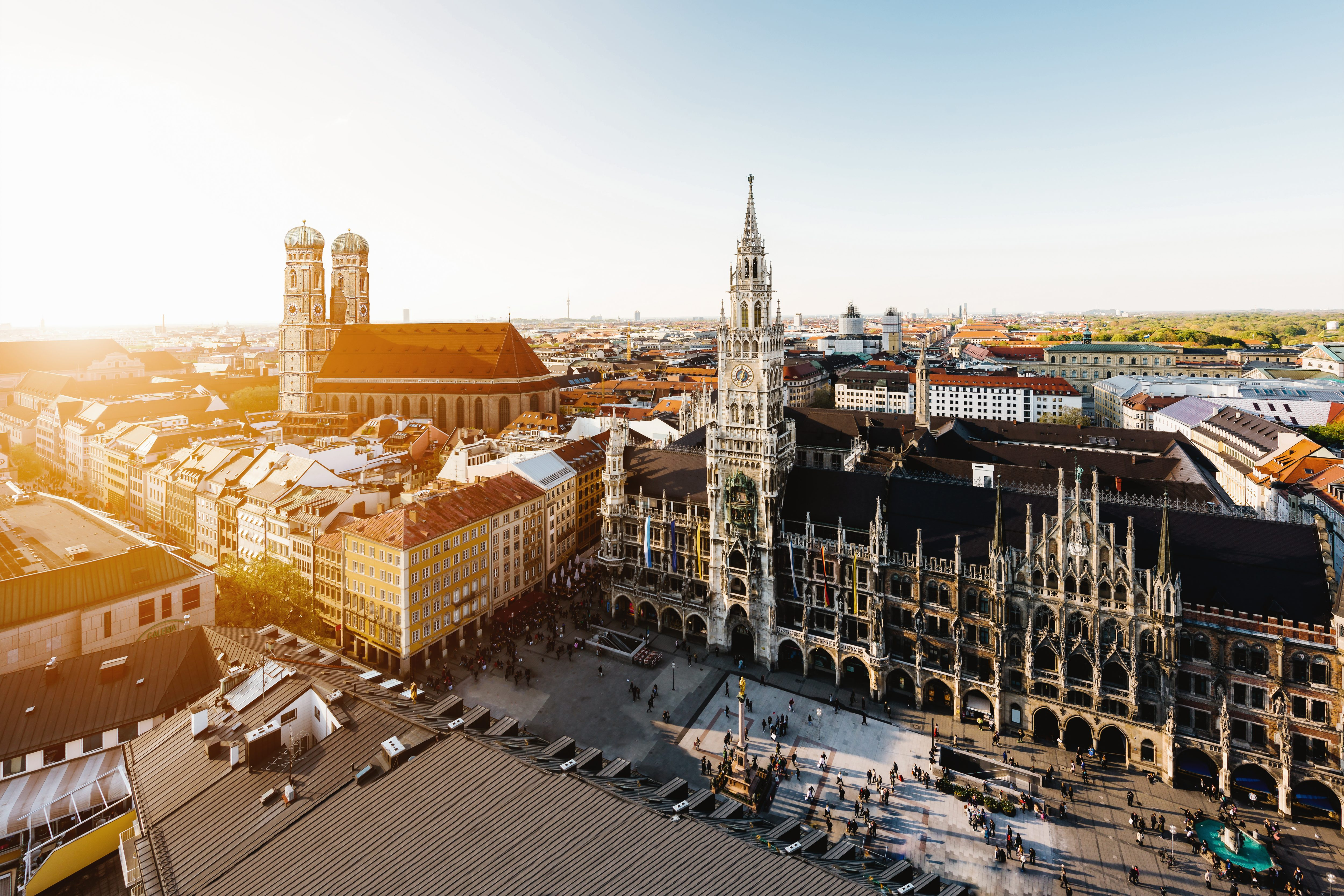 View of the city of Munich at sunrise
