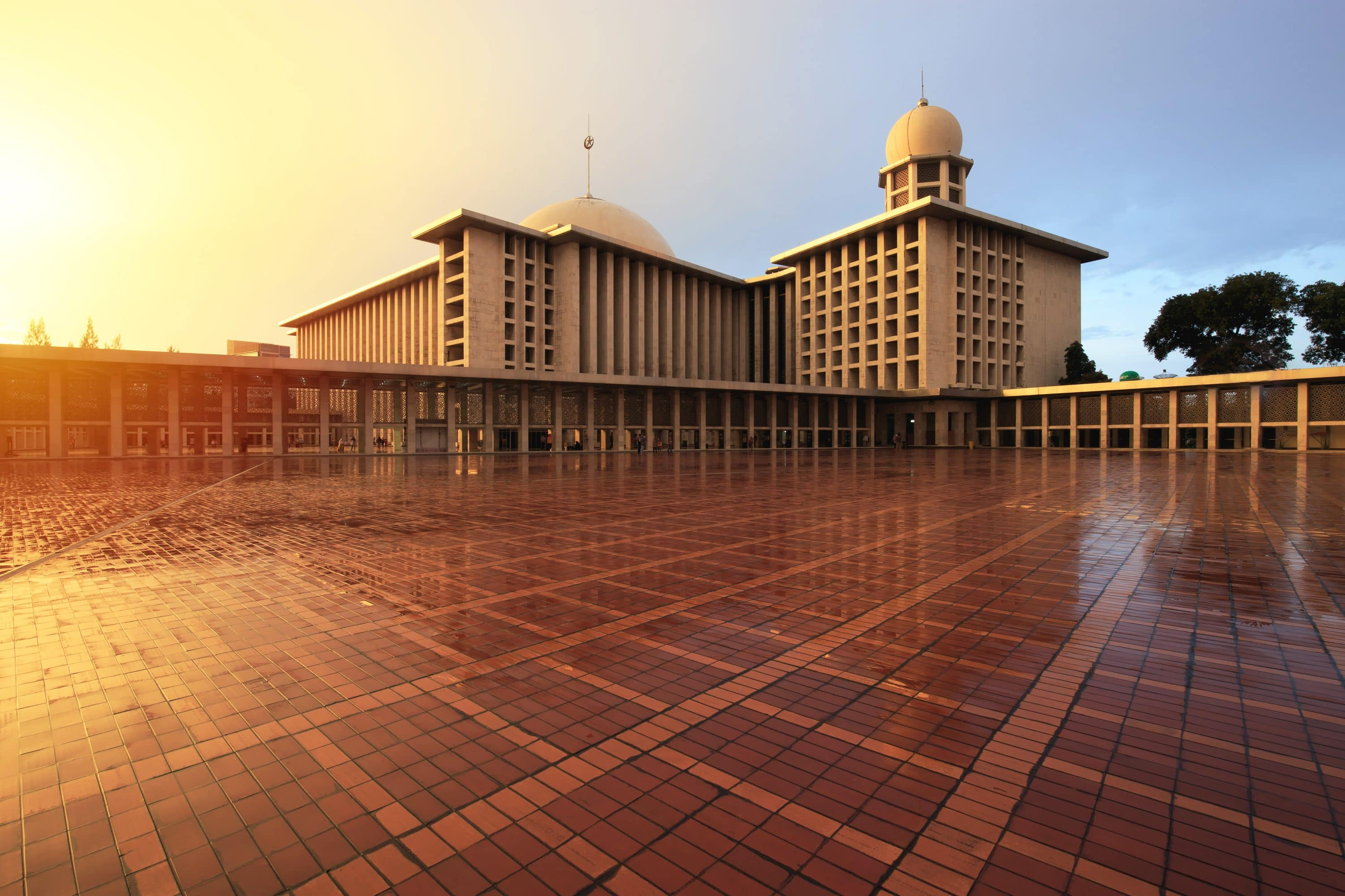 Istiqlal Mosque at sunset