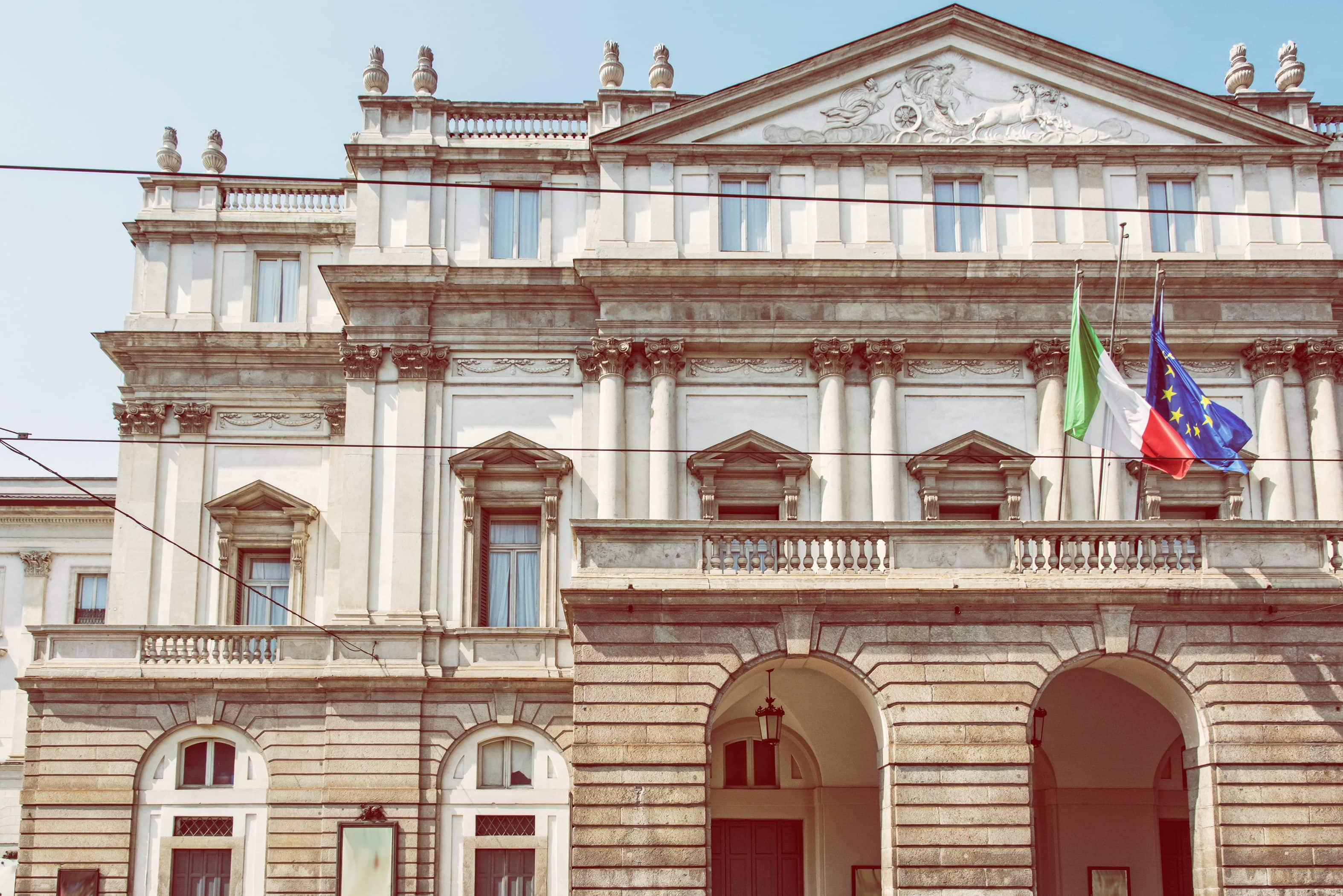 The front facade of the famous La Scala Opera House