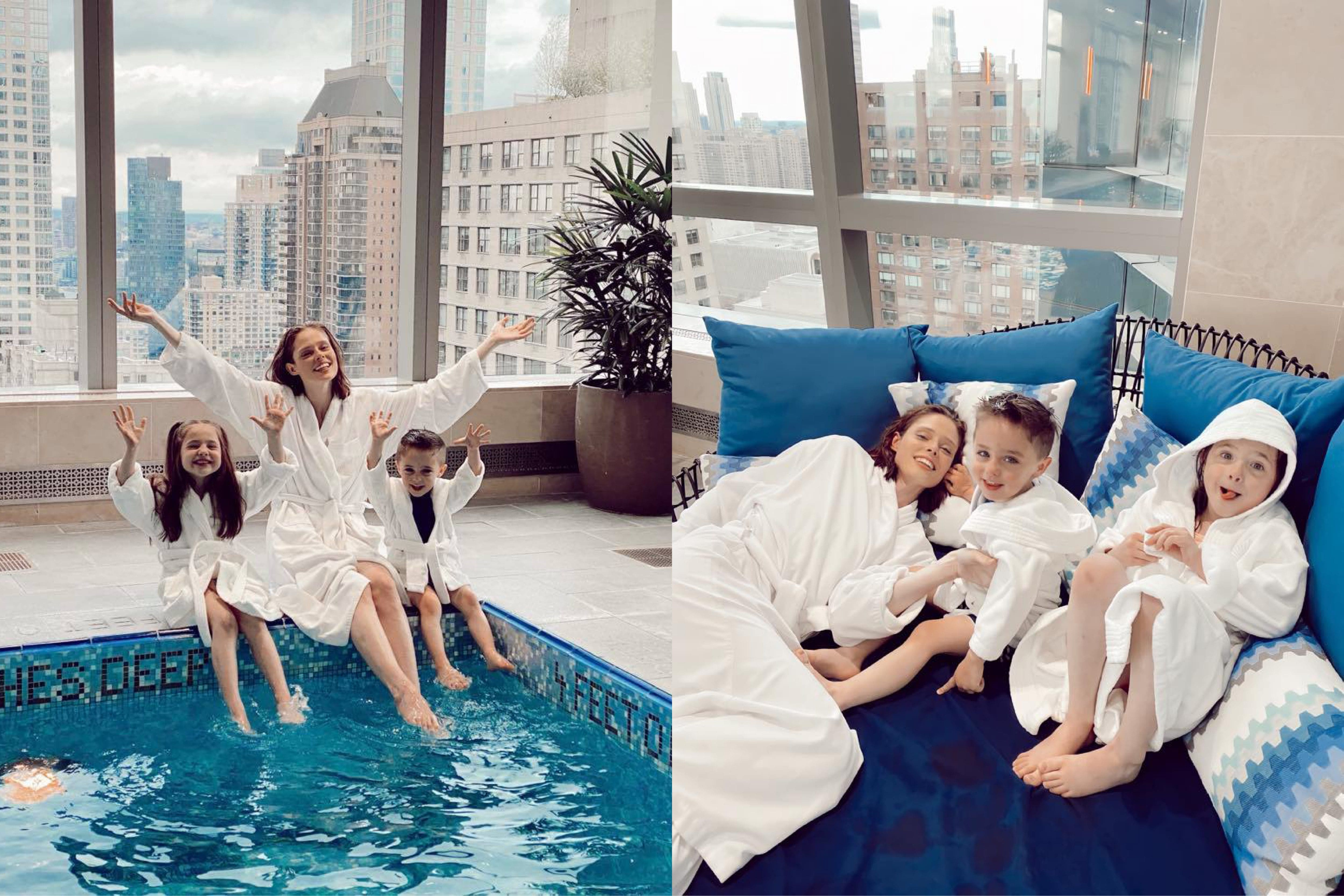 Coco Rocha and children by the swimming pool