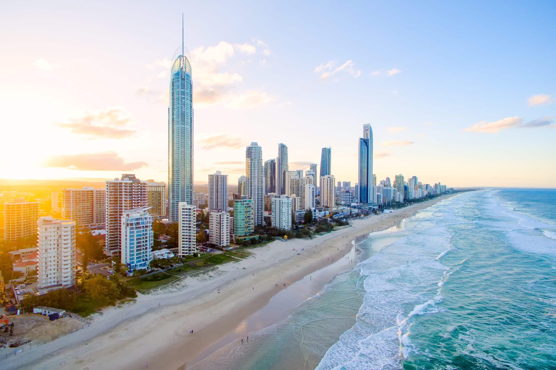 Buildings and beach of Gold Coast, Australia