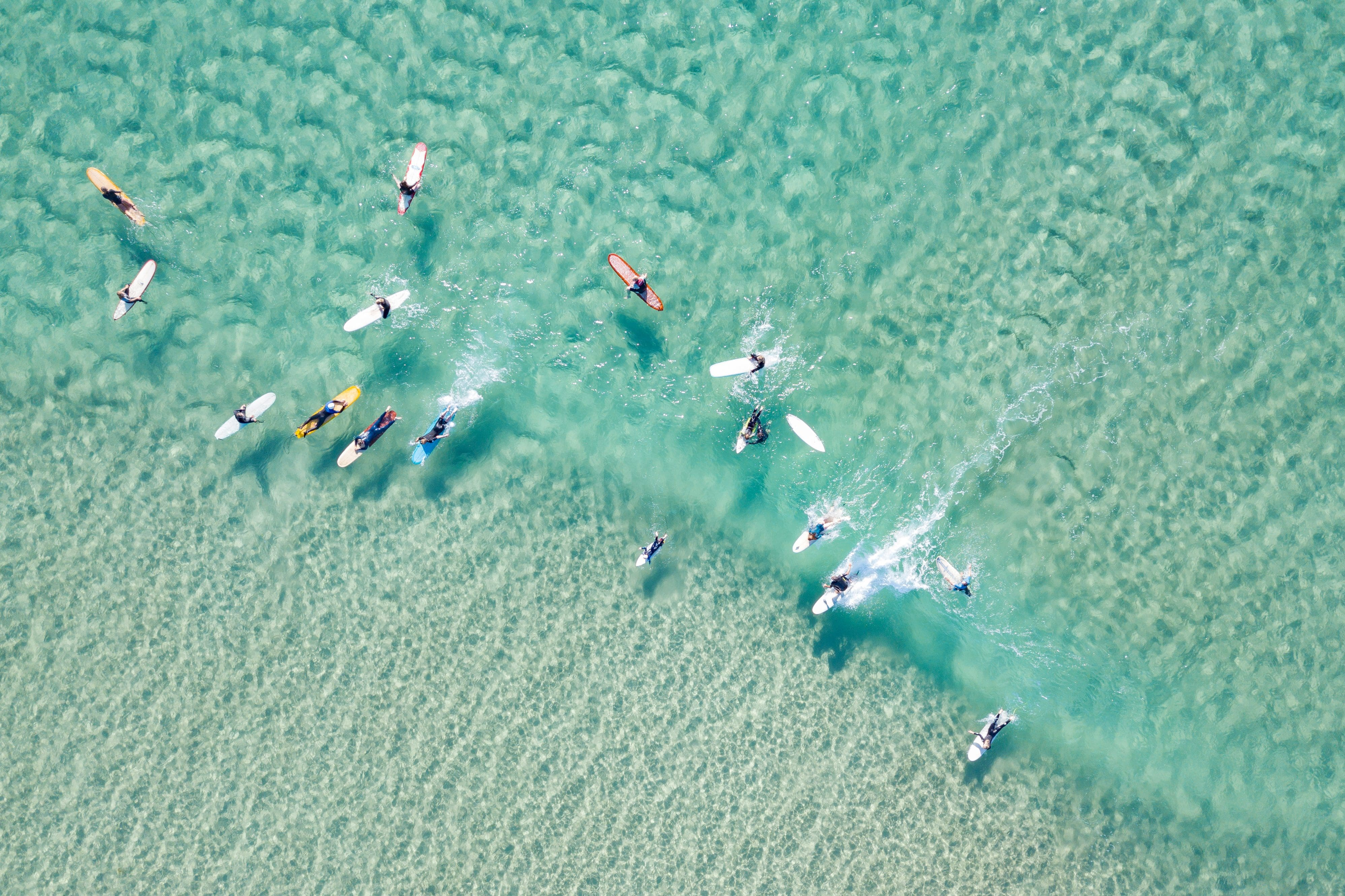 Bird's-eye view of surfers waiting for a wave on a azure blue sea