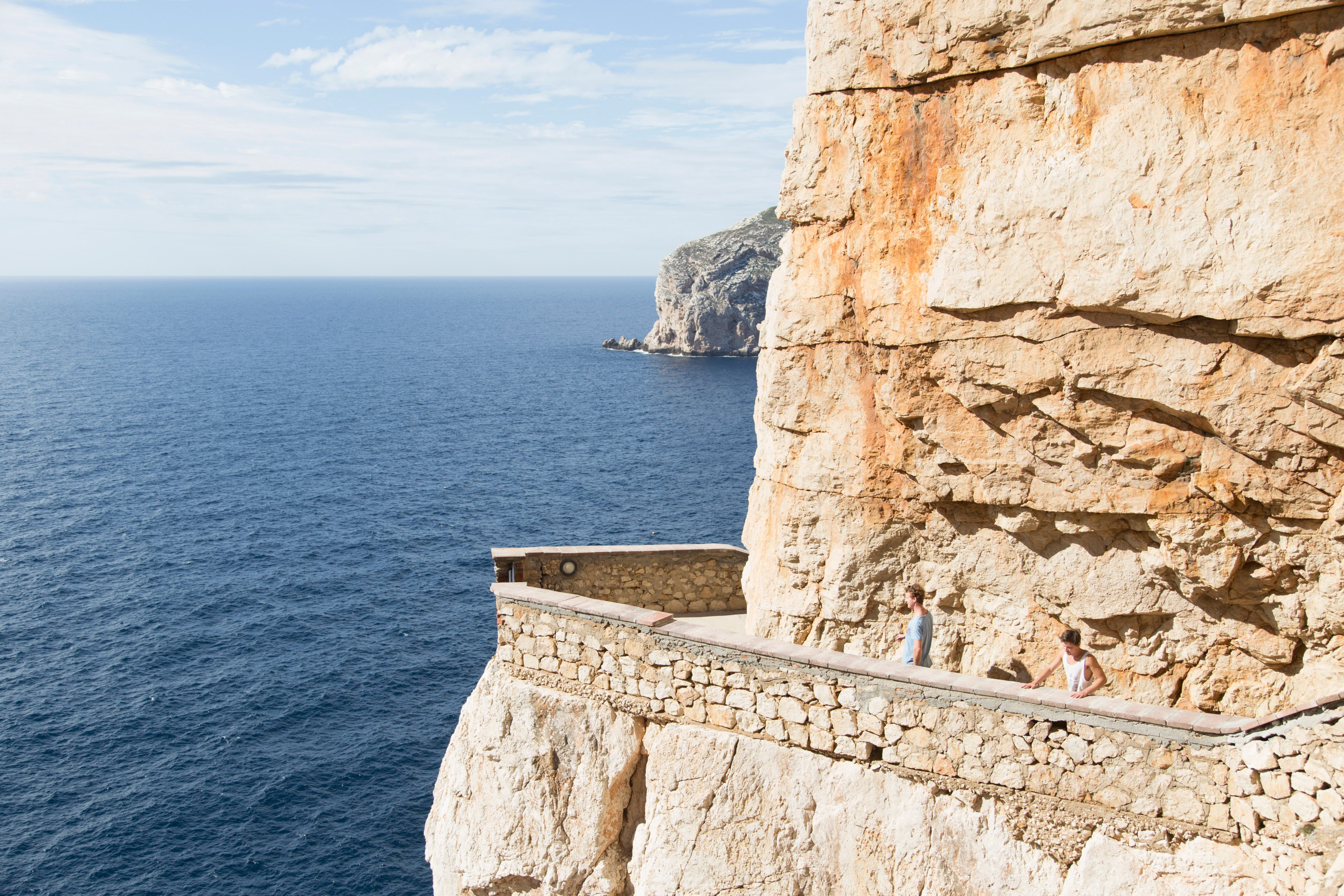 A cliff path in Sardinia over the sea