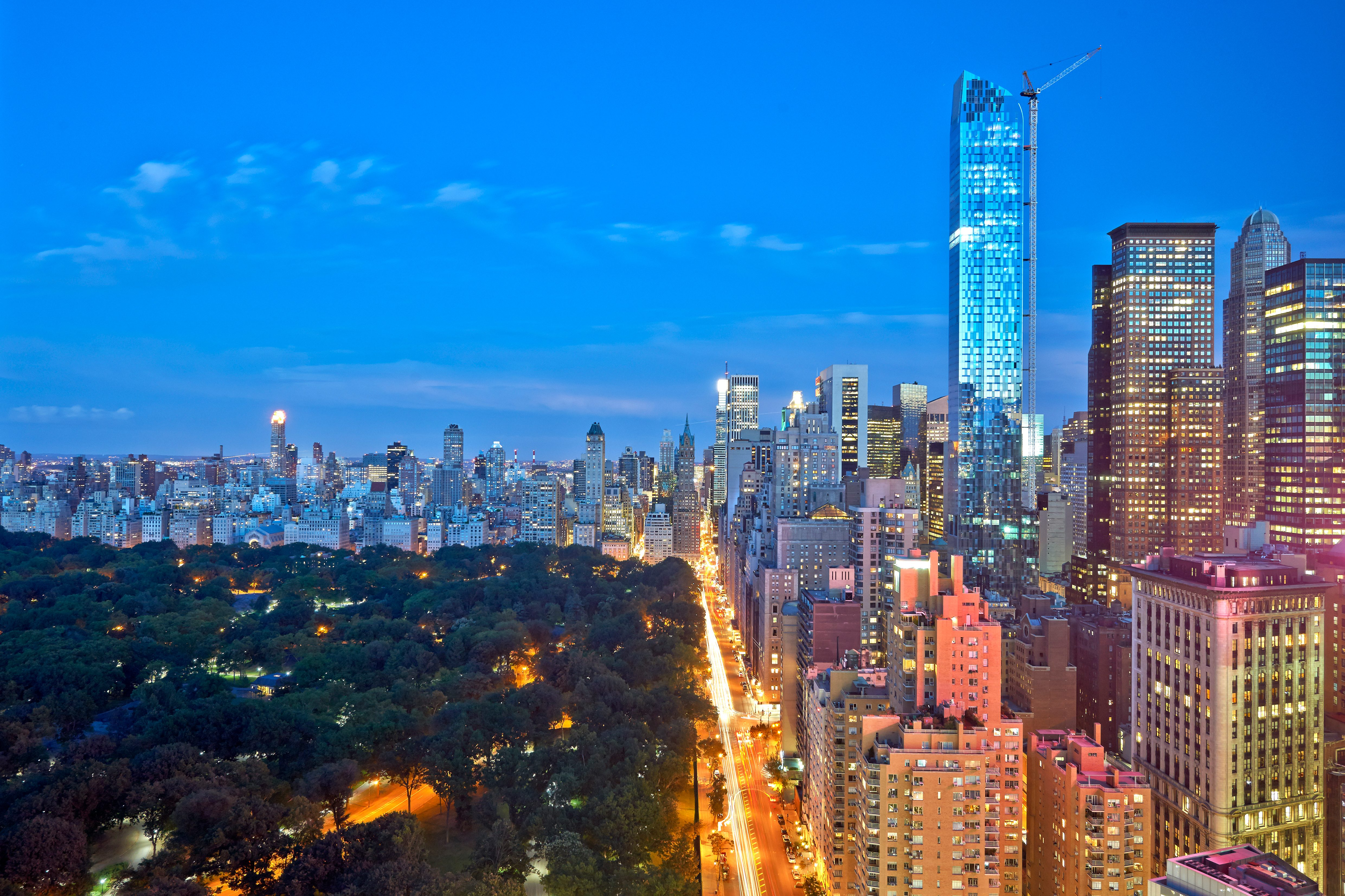 View over the illuminated Manhattan skyline and Central Park from Mandarin Oriental, New York