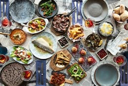 Selection of brunch dishes on a table at Tasca restaurant