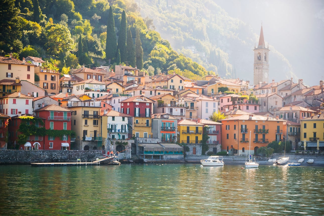 Pretty multicoloured houses on the banks of Lake Como