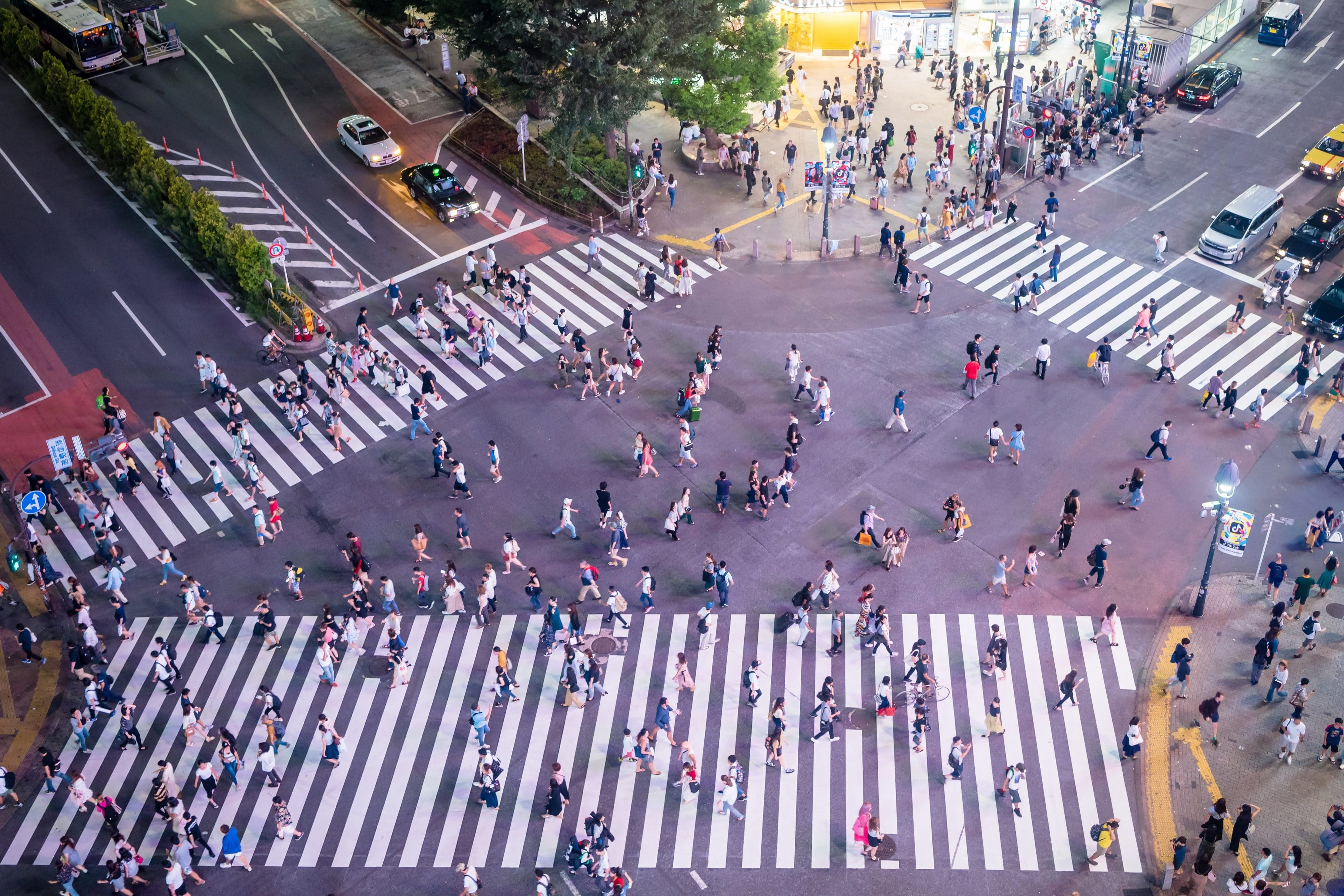 Overhead view of the Shibuya Crossing in Tokyo