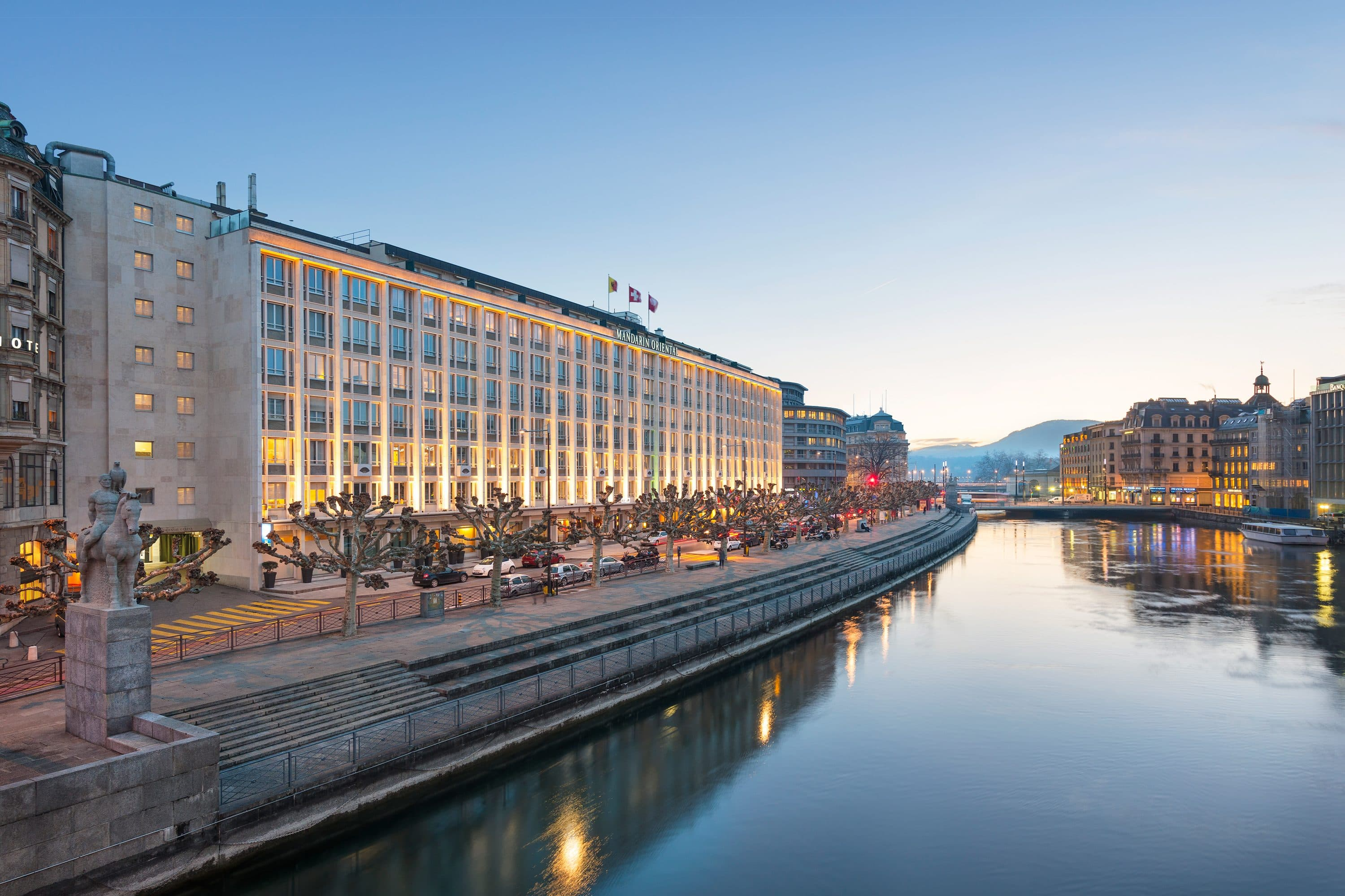 Exterior of Mandarin Oriental, Geneva at sunset