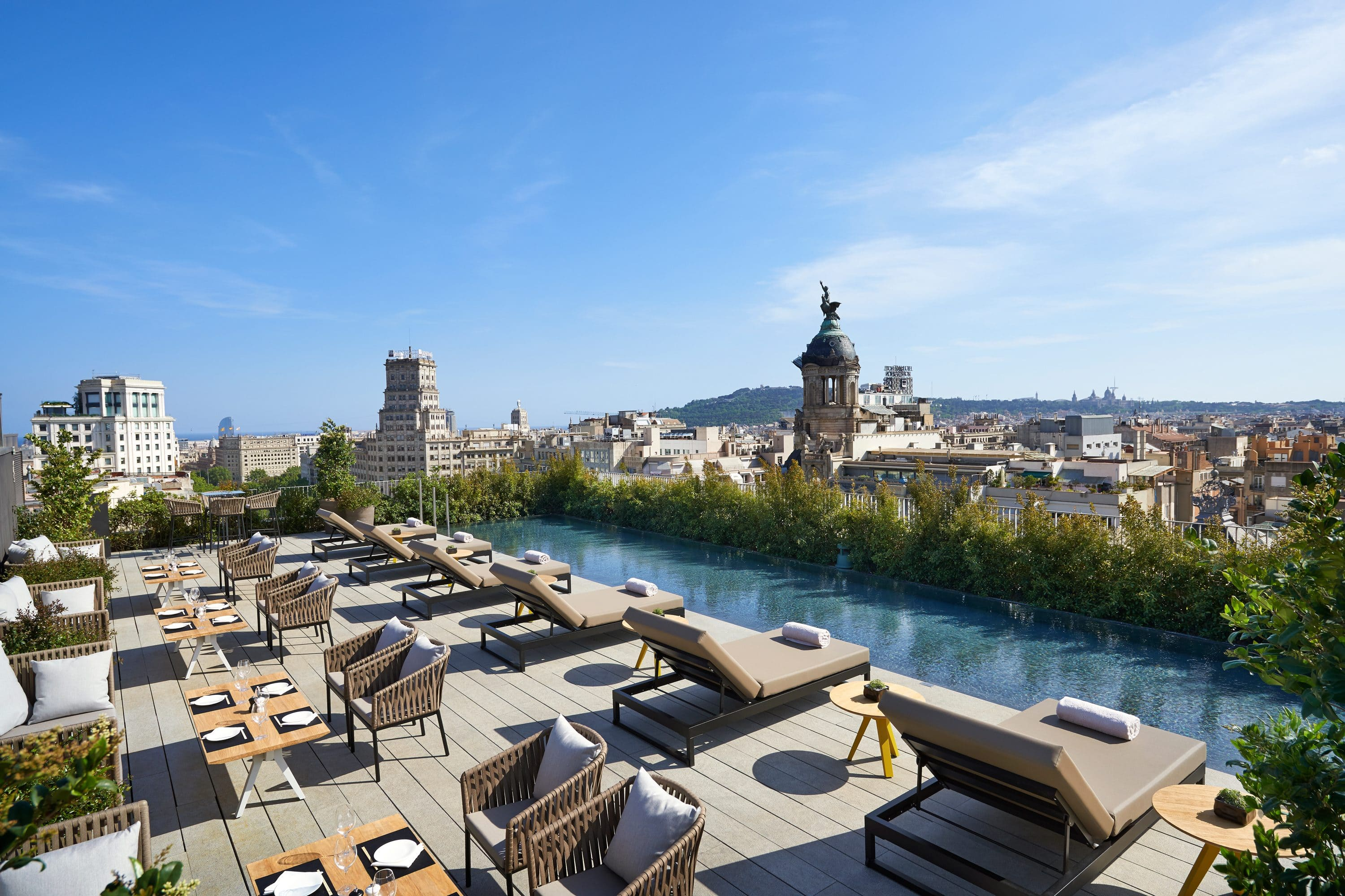 View of the city from Terrat terrace and pool at Mandarin Oriental, Barcelona