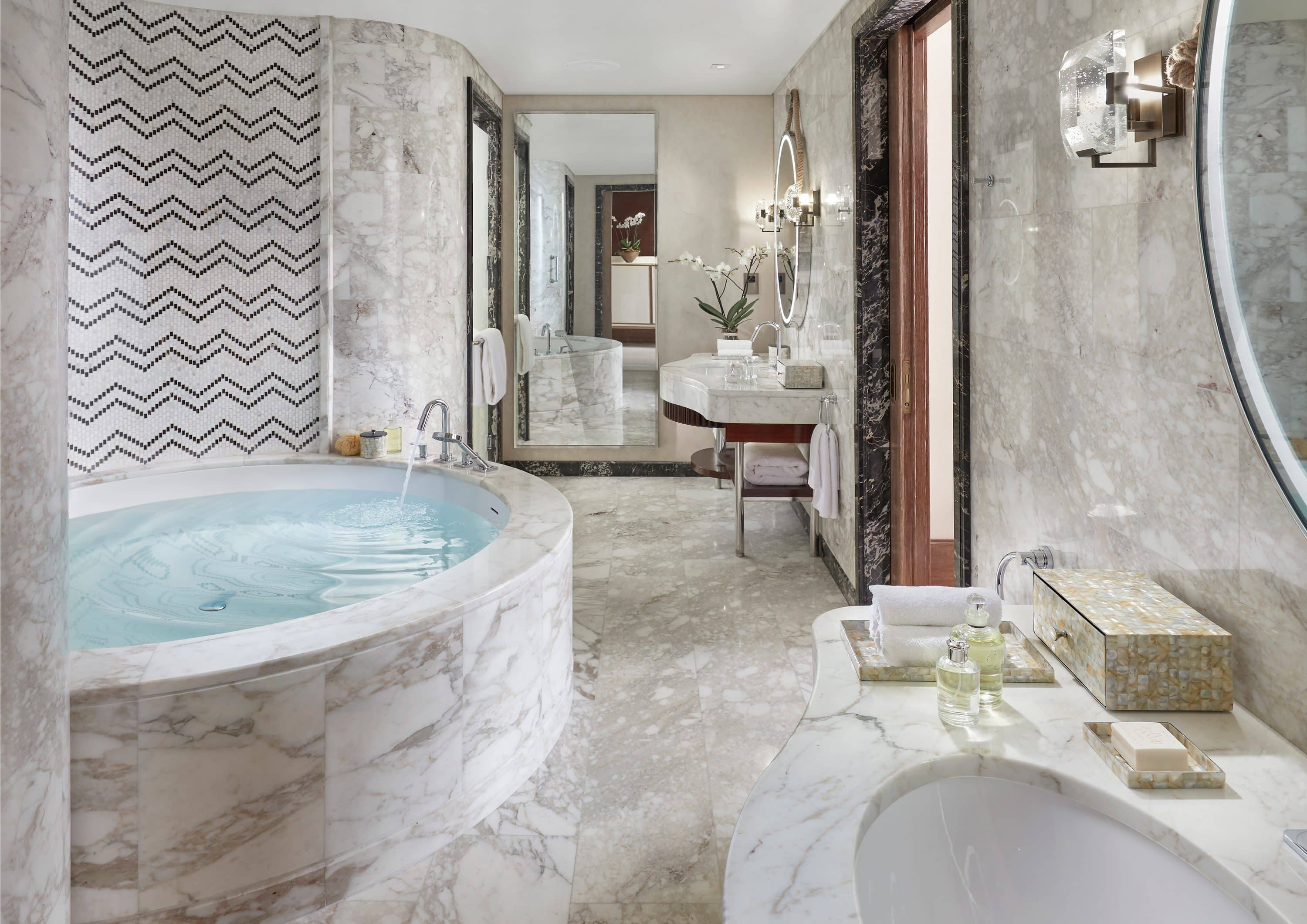 Marble bathroom in a room at Mandarin Oriental, Doha