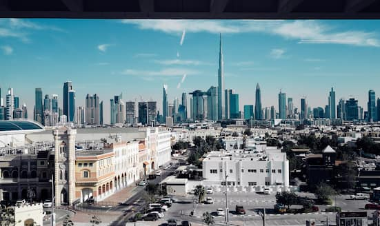View of the Downtown Dubai skyline from Mandarin Oriental Jumeira, Dubai