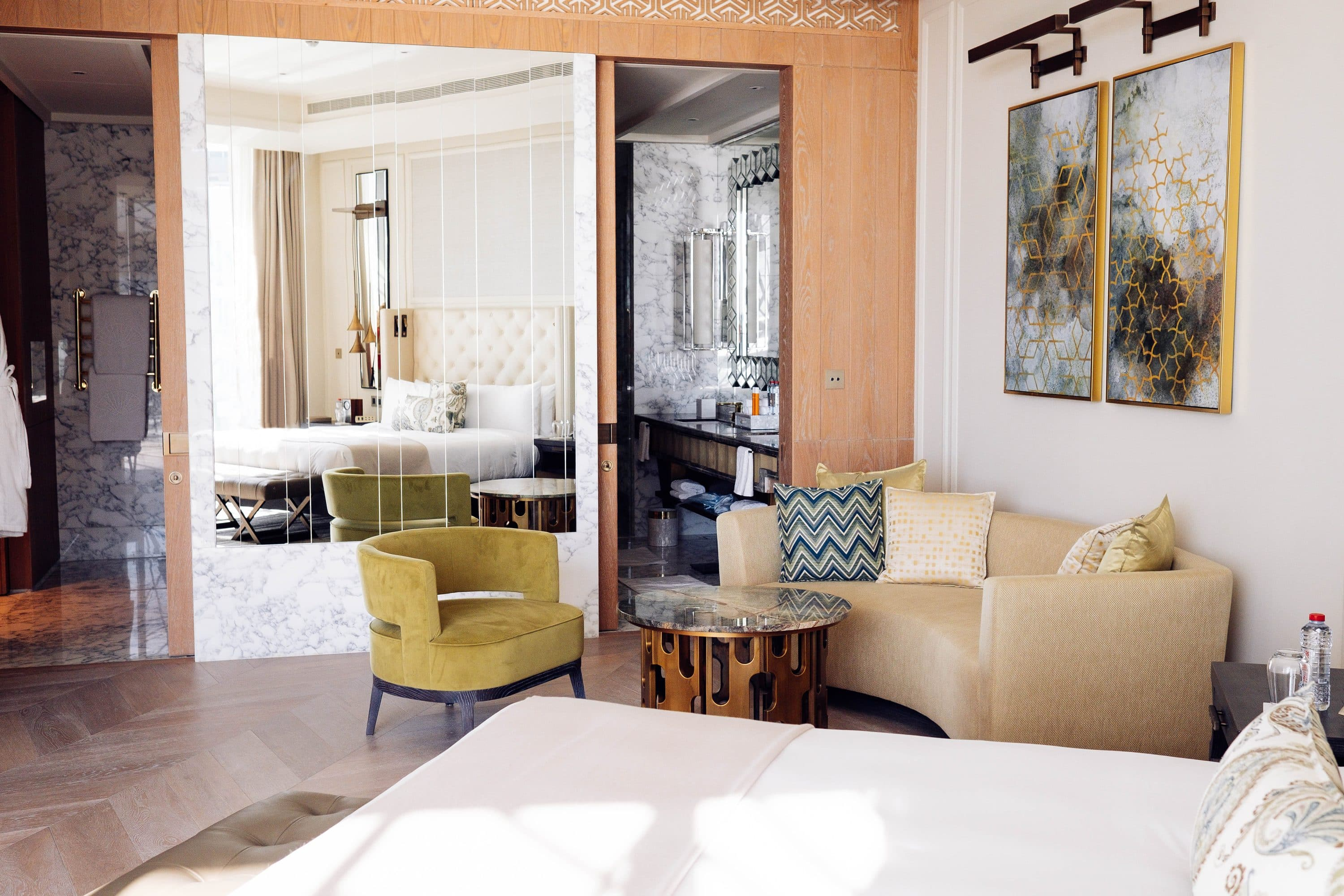 One of the hotel's bedrooms, featuring the lattice work that is characteristic of the area