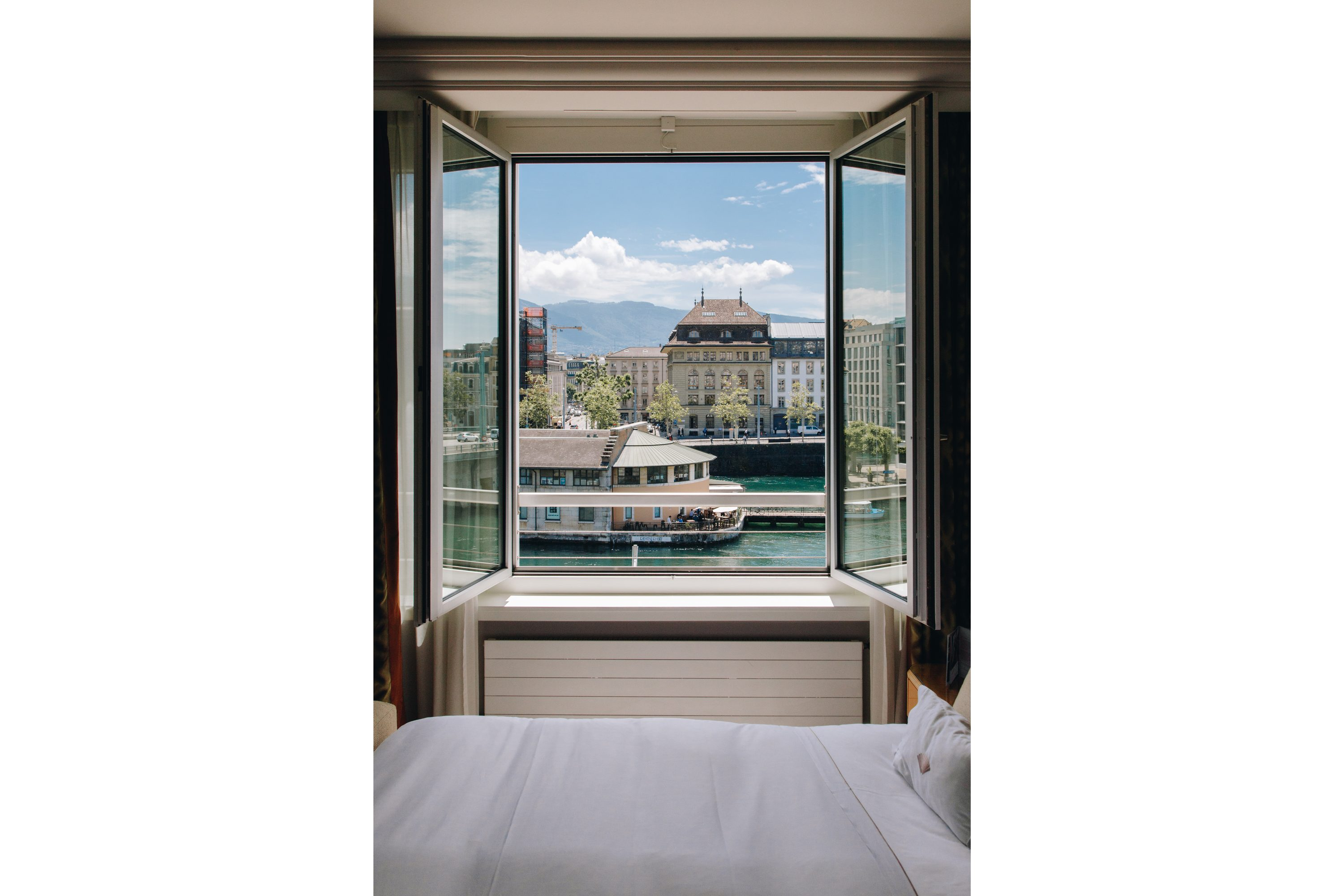 View out of room window at Mandarin Oriental, Geneva