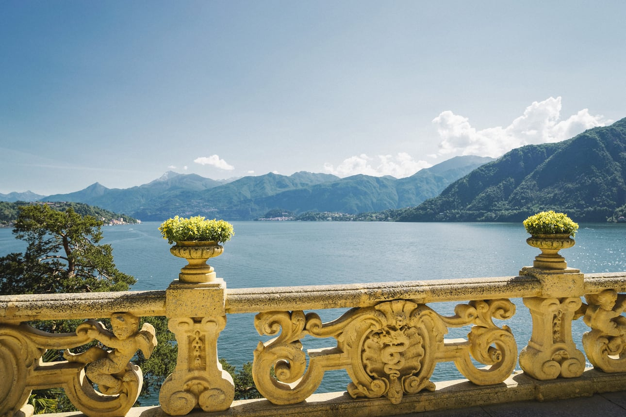 View of Lake Como with its surrounding mountains