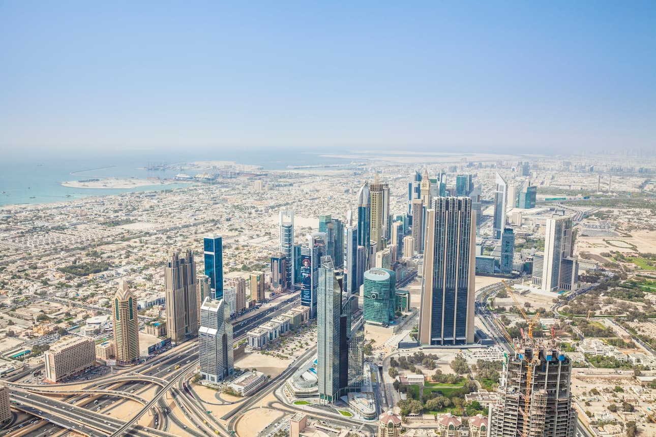 Aerial view of Downtown Dubai and the Dubai International Finance Centre (DIFC) district