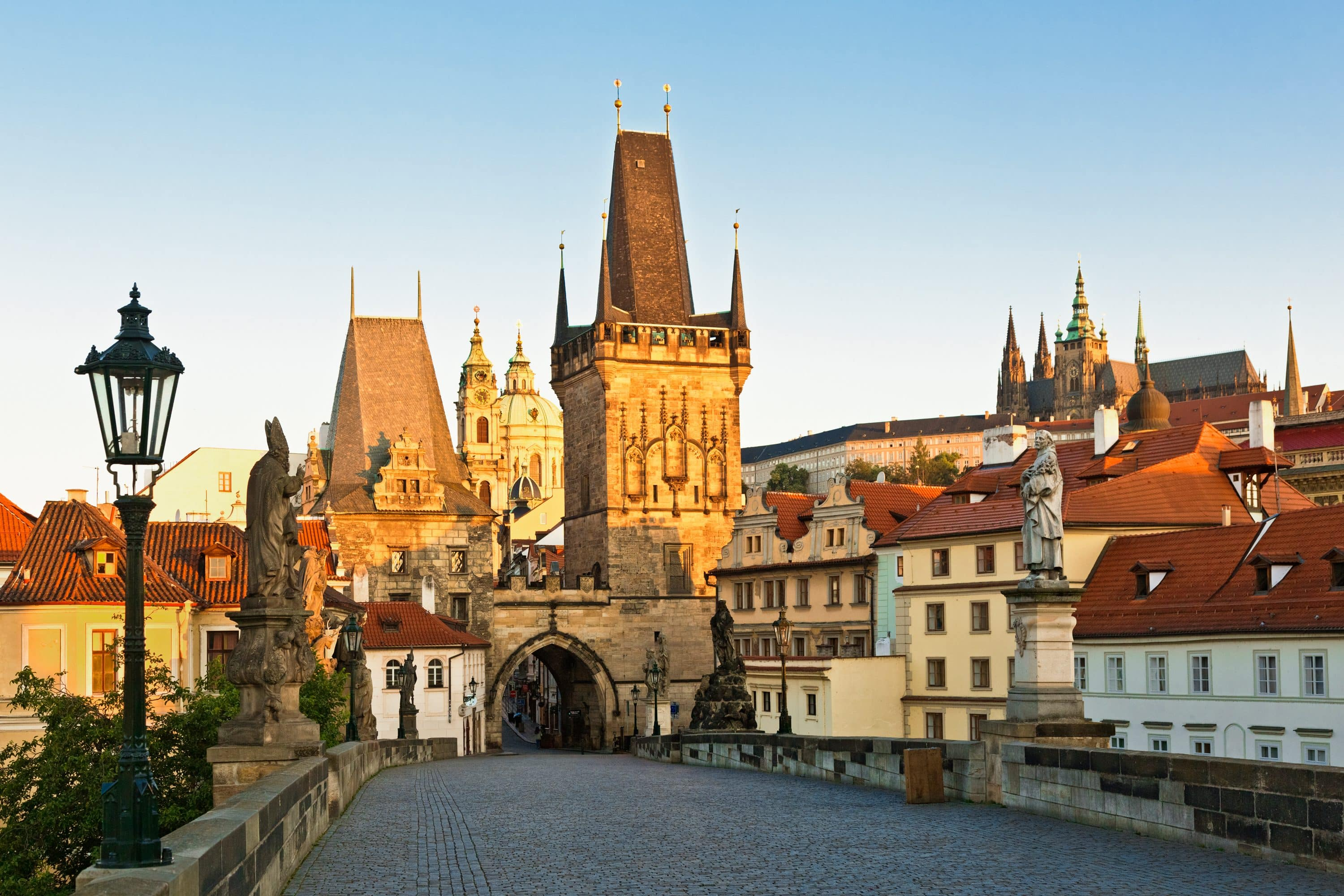 Charles Bridge, backdropped by Prague's Old Town