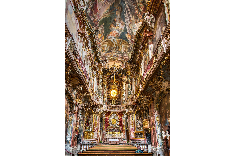 Ornate ceilings in Asam Church, Munich