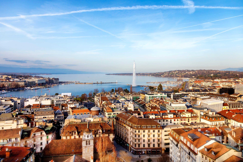 City view of Geneva and Lake Geneva