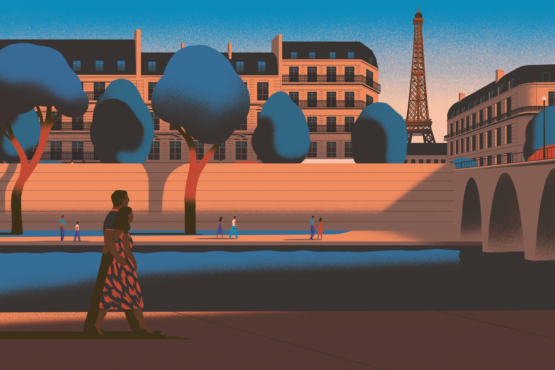 Illustration of woman walking along the Seine
