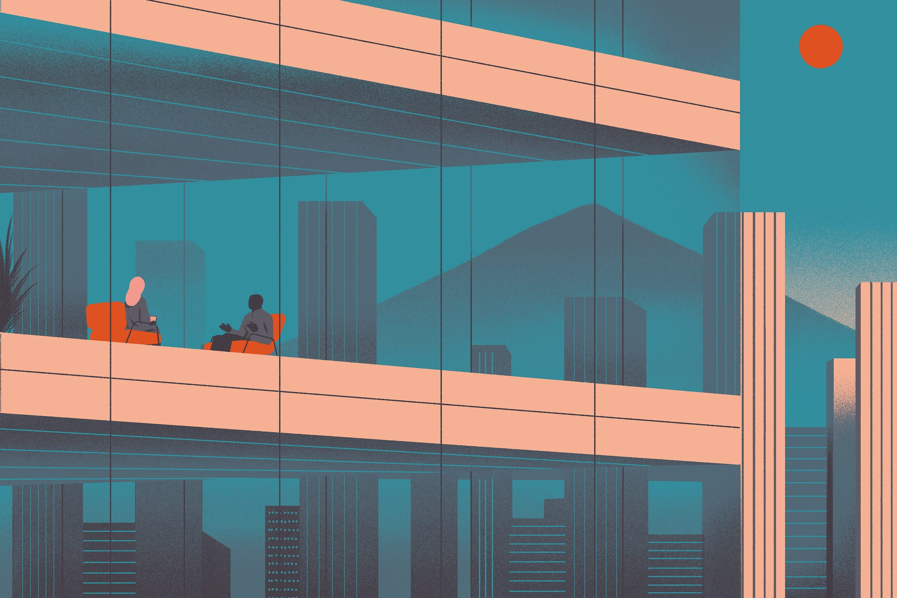 Illustration of people sitting in hotel with Mount Fuji in the background