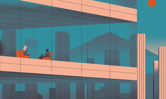 Illustration of people sitting in a hotel