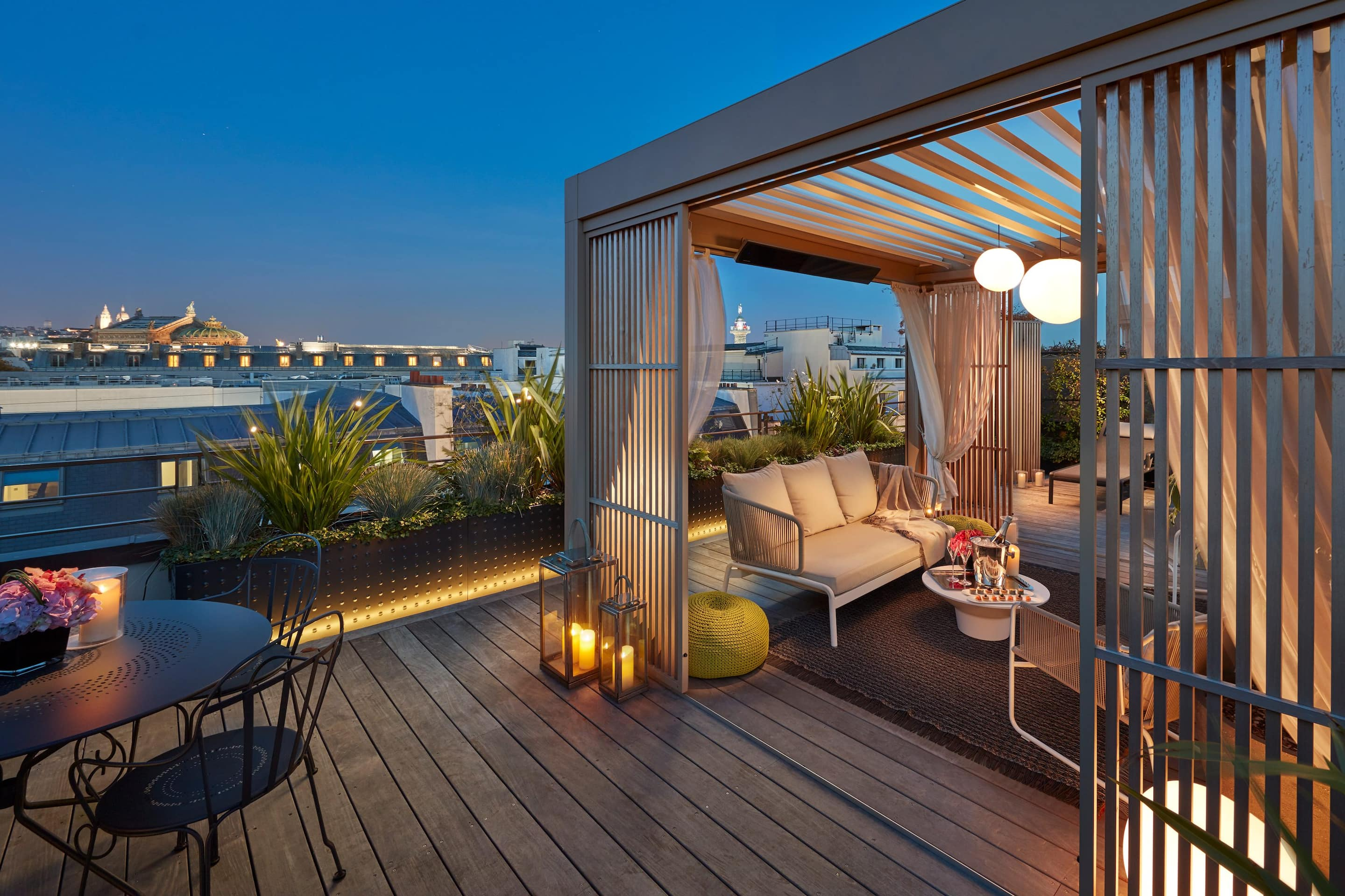 Rooftop views from the terrace of the Mandarin Penthouse Floor, Paris