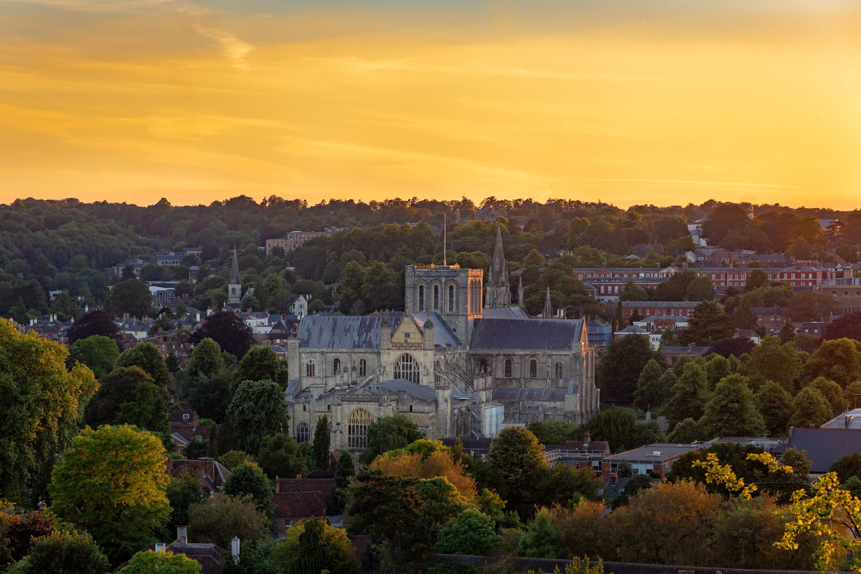 Winchester Cathedral at sunrise