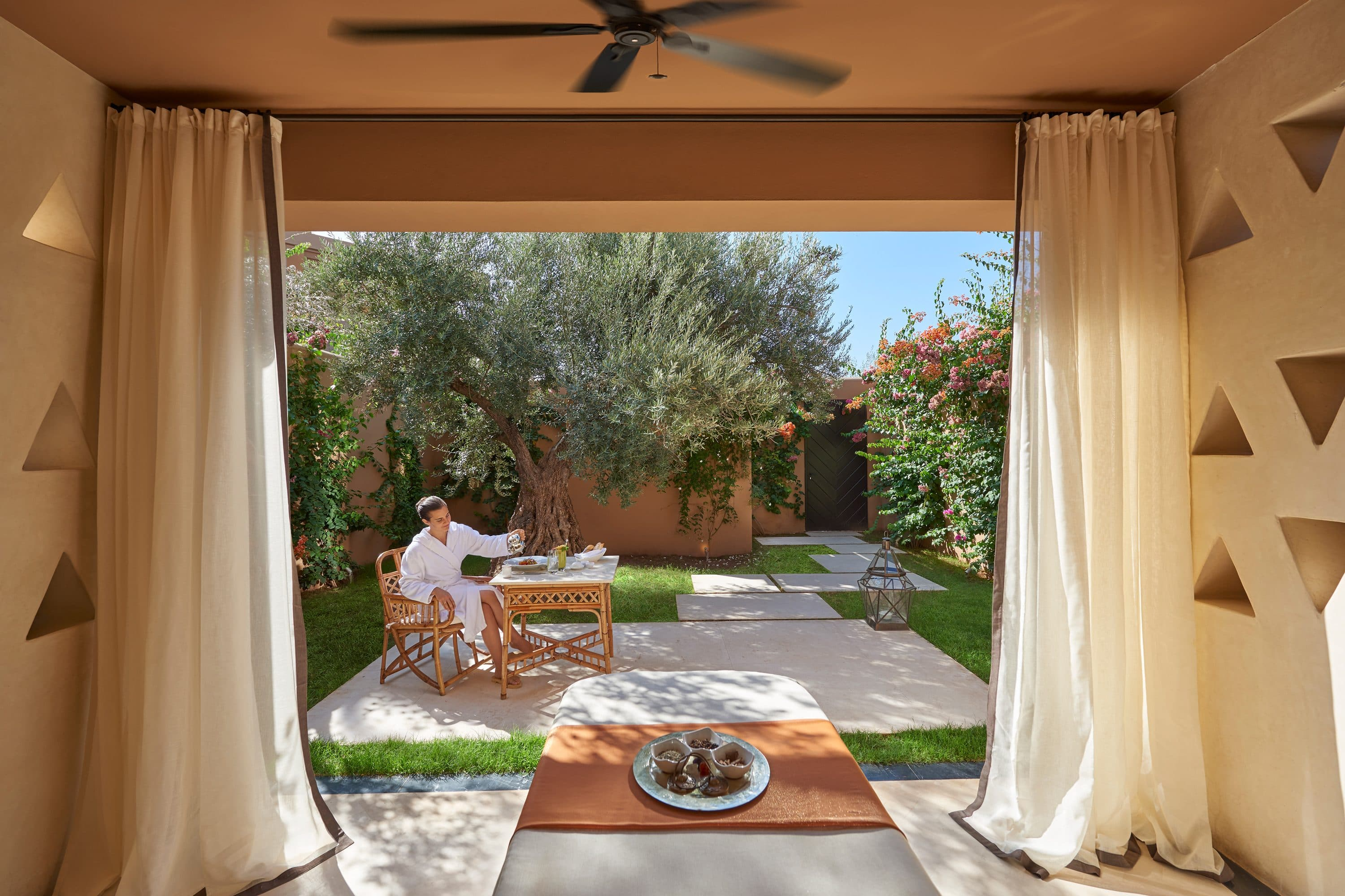 Spa treatment room garden at Mandarin Oriental, Marrakech