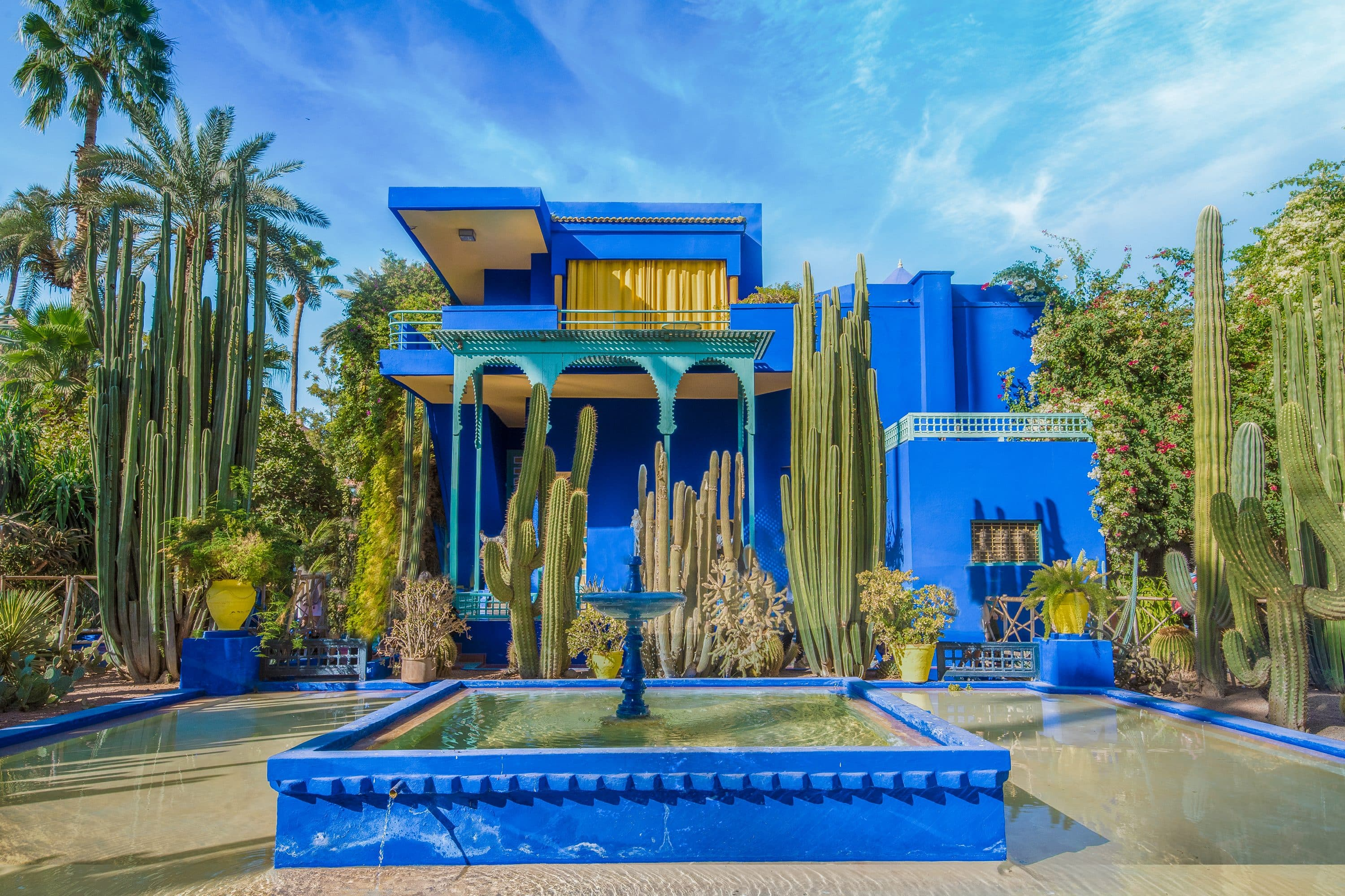 Powder blue house at the Majorelle Garden, Marrakech