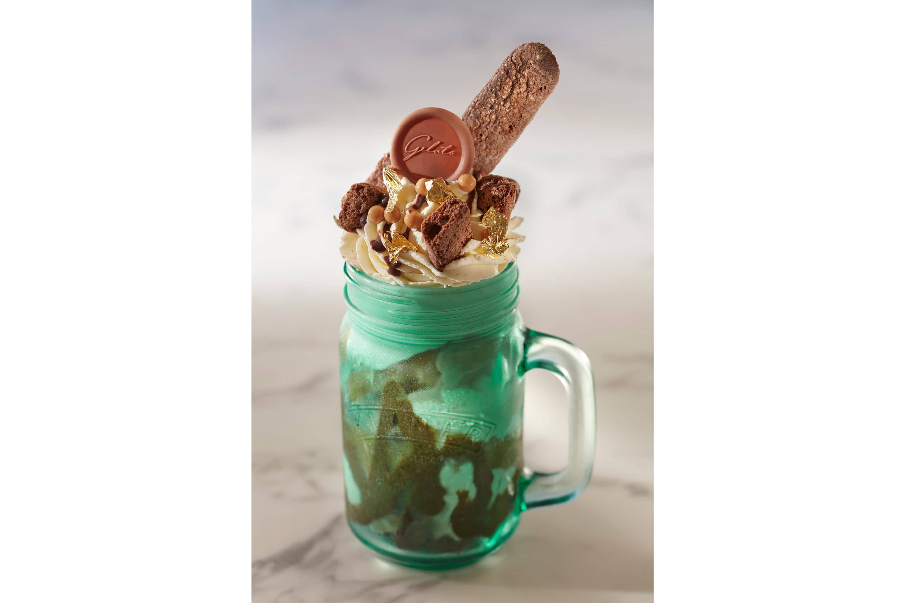 Messy Mug ice cream dessert in a green glass mug