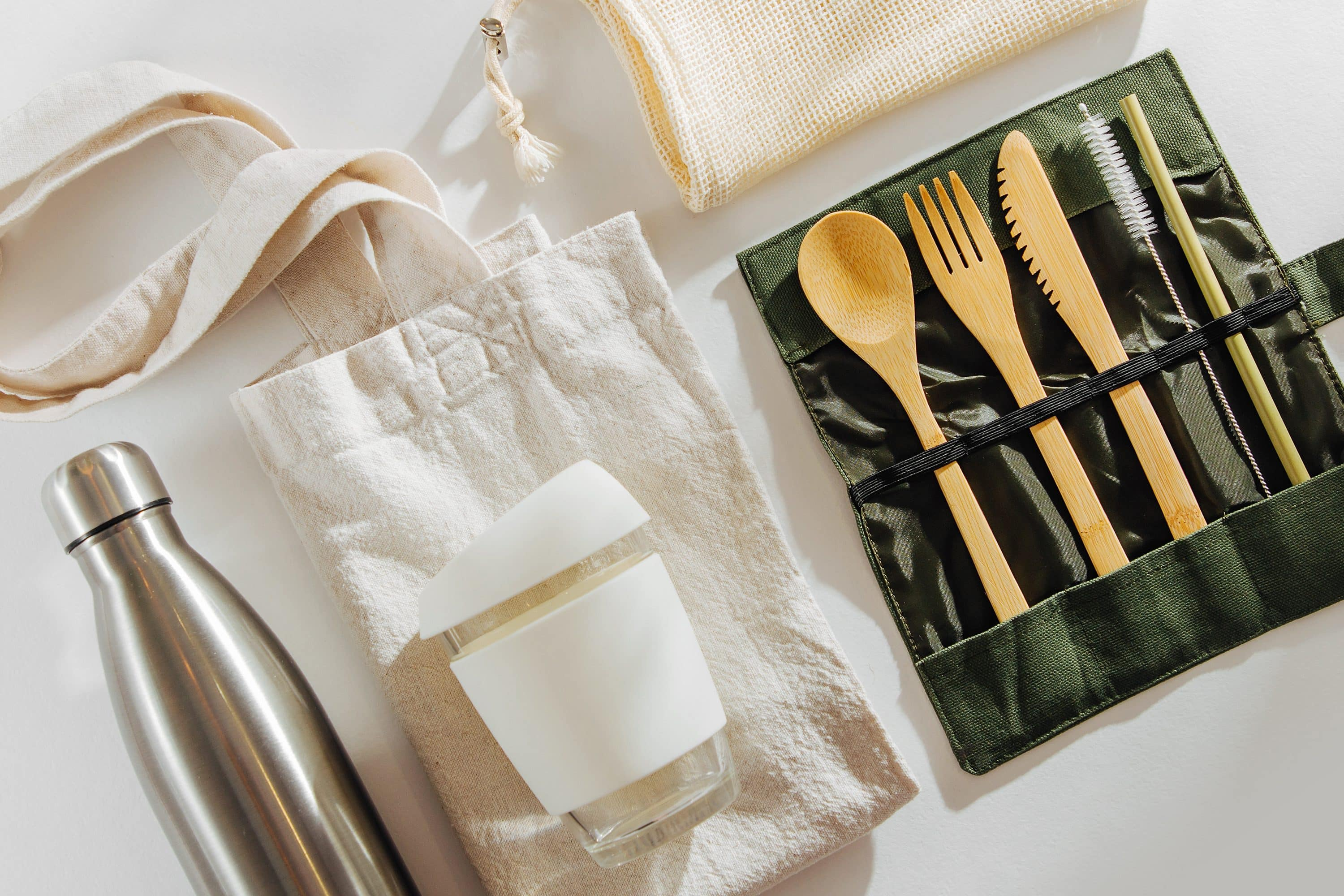 Sustainable travel products including water bottle and cutlery