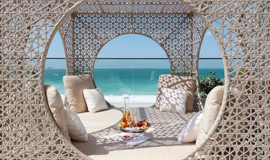 Day bed on the beach at Mandarin Oriental Jumeira, Dubai